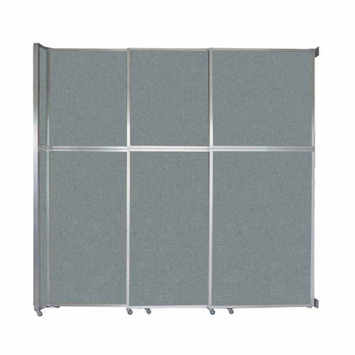"Operable Wall Sliding Room Divider 9'9"" x 10'3/4"" Sea Green Fabric"