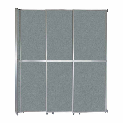 """Operable Wall Sliding Room Divider 9'9"""" x 12'3"""" Sea Green Fabric"""