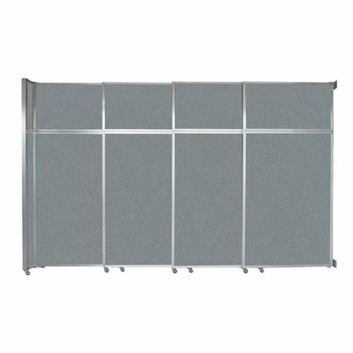"""Operable Wall Sliding Room Divider 12'8"""" x 8'5-1/4"""" Sea Green Fabric"""