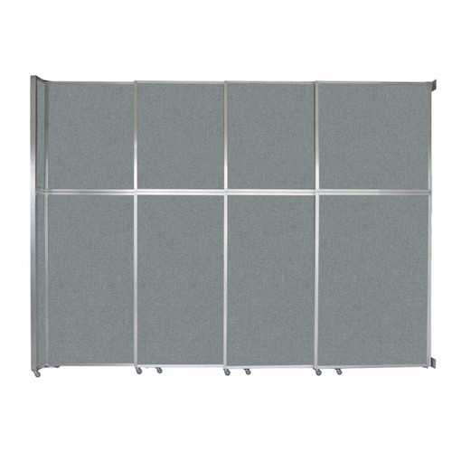 "Operable Wall Sliding Room Divider 12'8"" x 10'3/4"" Sea Green Fabric"