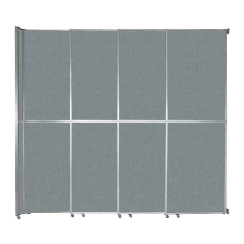 """Operable Wall Sliding Room Divider 12'8"""" x 12'3"""" Sea Green Fabric"""