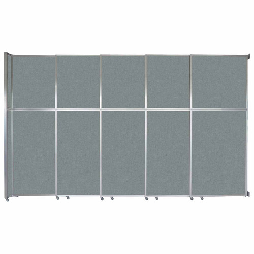 """Operable Wall Sliding Room Divider 15'7"""" x 10'3/4"""" Sea Green Fabric"""