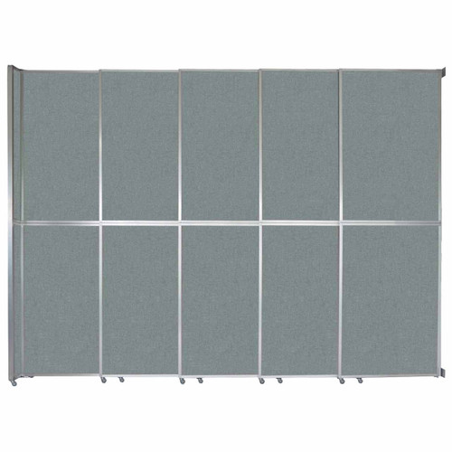 "Operable Wall Sliding Room Divider 15'7"" x 12'3"" Sea Green Fabric"
