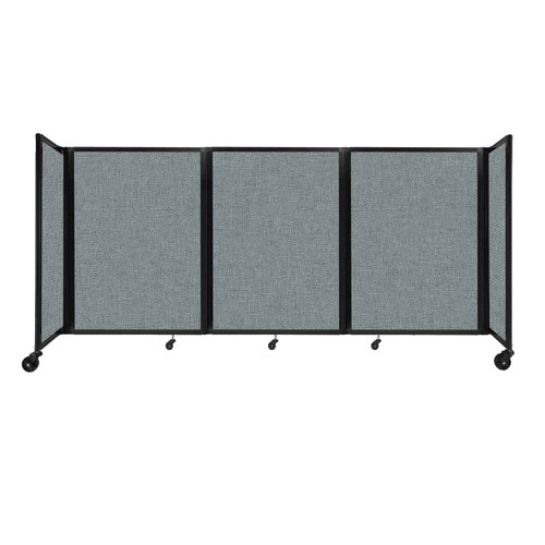 """Room Divider 360 Folding Portable Partition 8'6"""" x 4' Sea Green Fabric"""