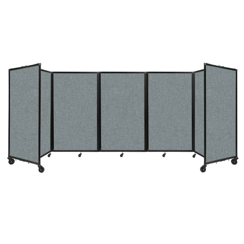 """Room Divider 360 Folding Portable Partition 14"""" x 5' Sea Green Fabric"""