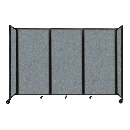 """Room Divider 360 Folding Portable Partition 8'6"""" x 6' Sea Green Fabric"""