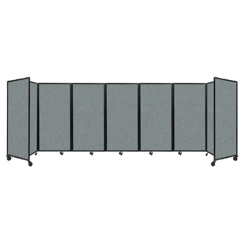 """Room Divider 360 Folding Portable Partition 19'6"""" x 6' Sea Green Fabric"""