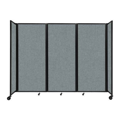 """Room Divider 360 Folding Portable Partition 8'6"""" x 6'10"""" Sea Green Fabric"""