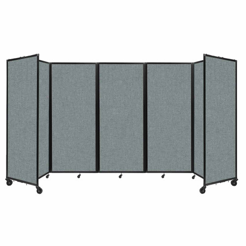 """Room Divider 360 Folding Portable Partition 14' x 6'10"""" Sea Green Fabric"""