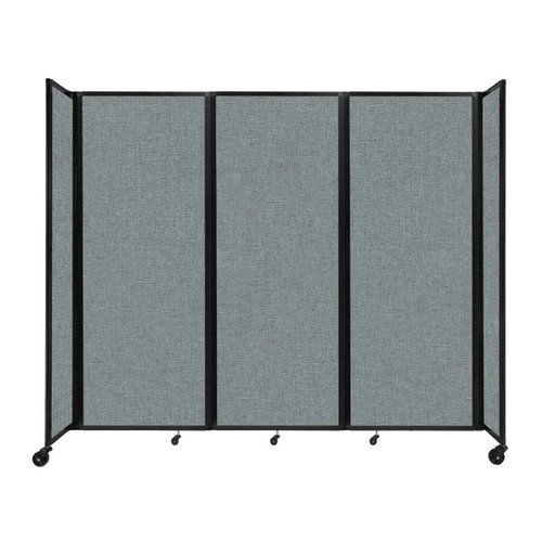 """Room Divider 360 Folding Portable Partition 8'6"""" x 7'6"""" Sea Green Fabric"""