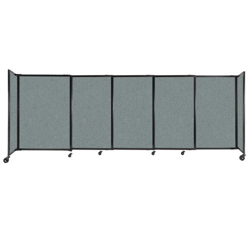 """StraightWall Sliding Portable Partition 11'3"""" x 4' Sea Green Fabric"""