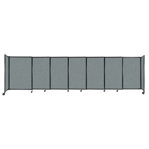"""StraightWall Sliding Portable Partition 15'6"""" x 4' Sea Green Fabric"""