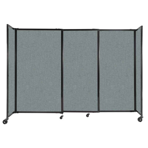 """StraightWall Sliding Portable Partition 7'2"""" x 5' Sea Green Fabric"""
