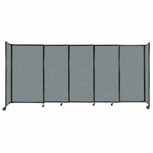 """StraightWall Sliding Portable Partition 11'3"""" x 5' Sea Green Fabric"""