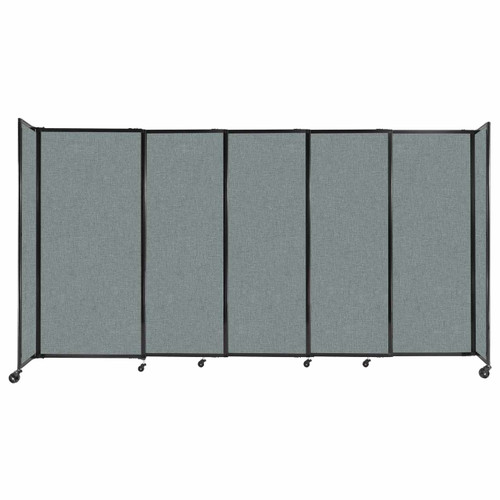 """StraightWall Sliding Portable Partition 11'3"""" x 6' Sea Green Fabric"""