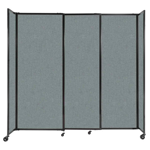 """StraightWall Sliding Portable Partition 7'2"""" x 6'10"""" Sea Green Fabric"""