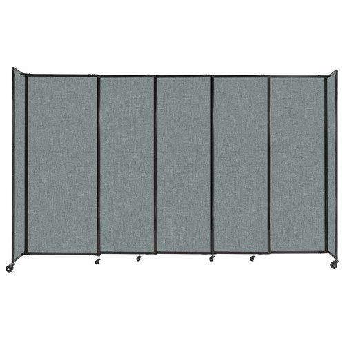 """StraightWall Sliding Portable Partition 11'3"""" x 6'10"""" Sea Green Fabric"""