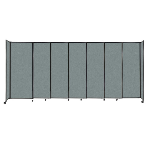 """StraightWall Sliding Portable Partition 15'6"""" x 6'10"""" Sea Green Fabric"""