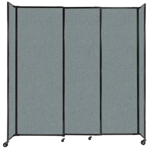 """StraightWall Sliding Portable Partition 7'2"""" x 7'6"""" Sea Green Fabric"""