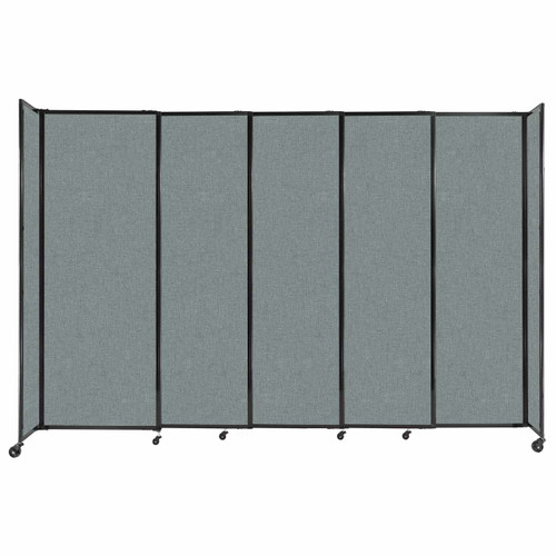 """StraightWall Sliding Portable Partition 11'3"""" x 7'6"""" Sea Green Fabric"""