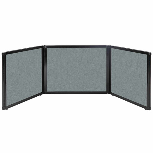 "Folding Tabletop Display 99"" x 24"" Sea Green Fabric"