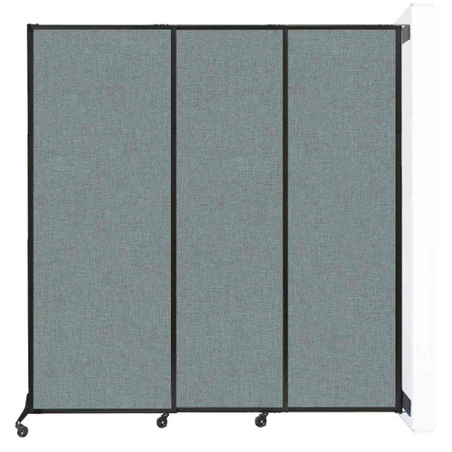"""Wall-Mounted QuickWall Sliding Partition 7' x 7'4"""" Sea Green Fabric"""