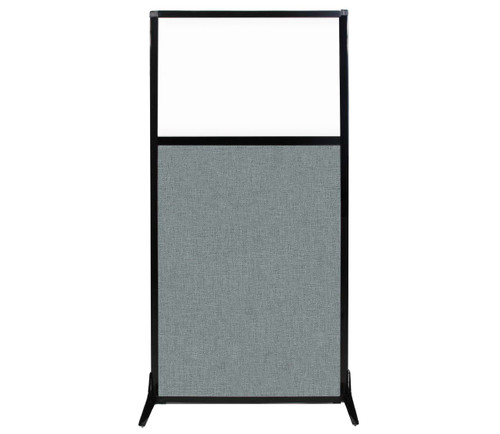 "Work Station Screen 33"" x 70"" Sea Green Fabric With Clear Window"
