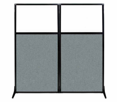 "Work Station Screen 66"" x 70"" Sea Green Fabric With Clear Window"