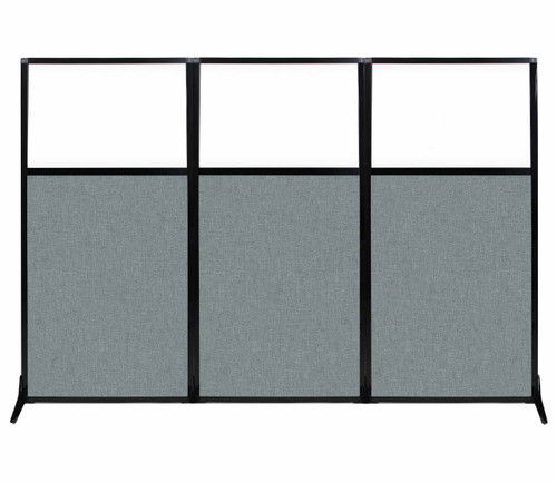 """Work Station Screen 99"""" x 70"""" Sea Green Fabric With Clear Window"""