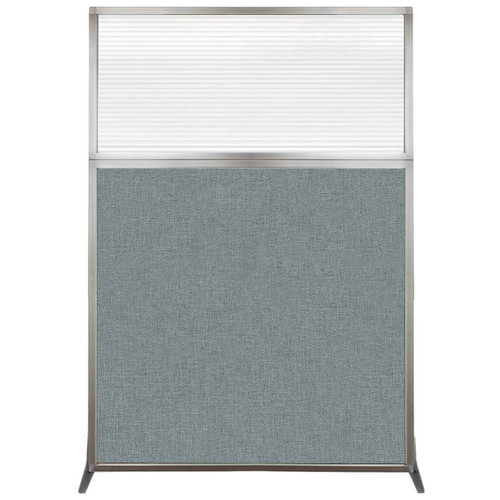 Hush Screen Portable Partition 4' x 6' Sea Green Fabric Clear Fluted Window Without Wheels