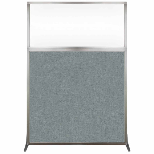 Hush Screen Portable Partition 4' x 6' Sea Green Fabric Clear Window Without Wheels