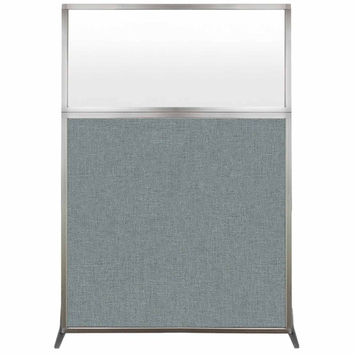 Hush Screen Portable Partition 4' x 6' Sea Green Fabric Frosted Window Without Wheels