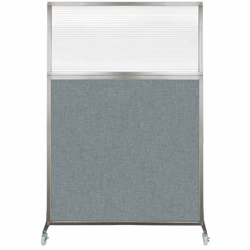 Hush Screen Portable Partition 4' x 6' Sea Green Fabric Clear Fluted Window With Wheels
