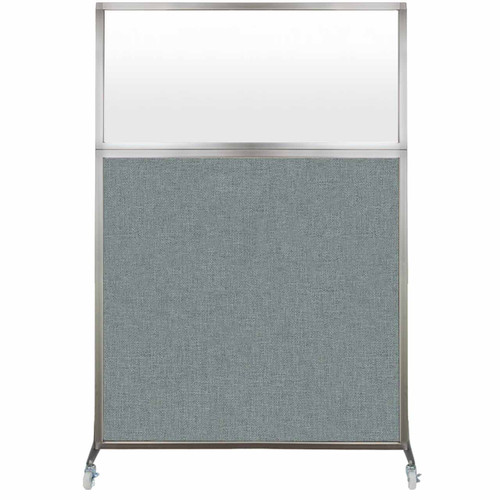 Hush Screen Portable Partition 4' x 6' Sea Green Fabric Frosted Window With Wheels
