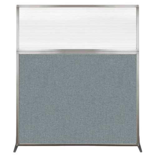 Hush Screen Portable Partition 5' x 6' Sea Green Fabric Clear Fluted Window Without Wheels