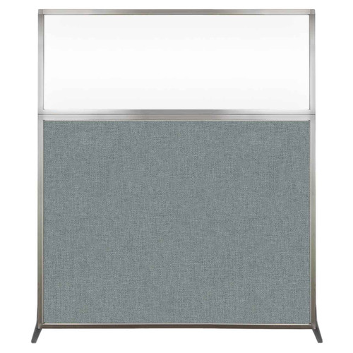Hush Screen Portable Partition 5' x 6' Sea Green Fabric Clear Window Without Wheels