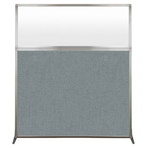 Hush Screen Portable Partition 5' x 6' Sea Green Fabric Frosted Window Without Wheels