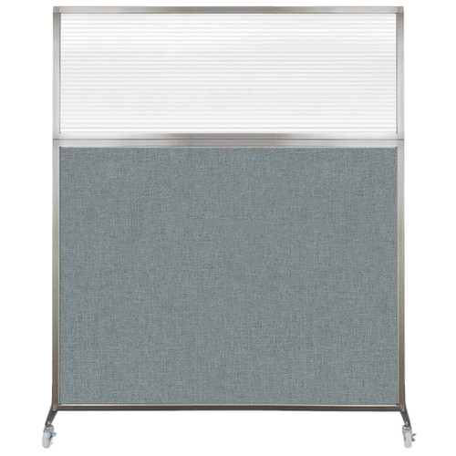 Hush Screen Portable Partition 5' x 6' Sea Green Fabric Clear Fluted Window With Wheels