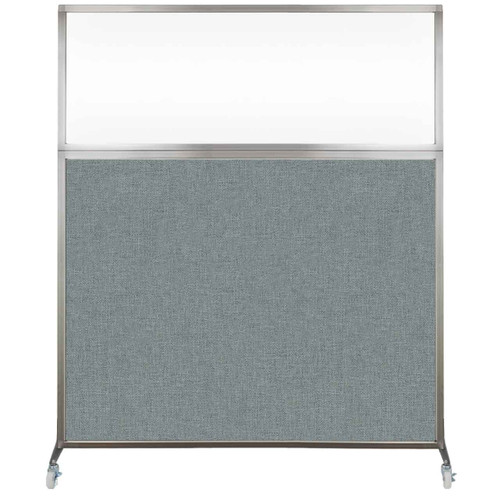 Hush Screen Portable Partition 5' x 6' Sea Green Fabric Clear Window With Wheels