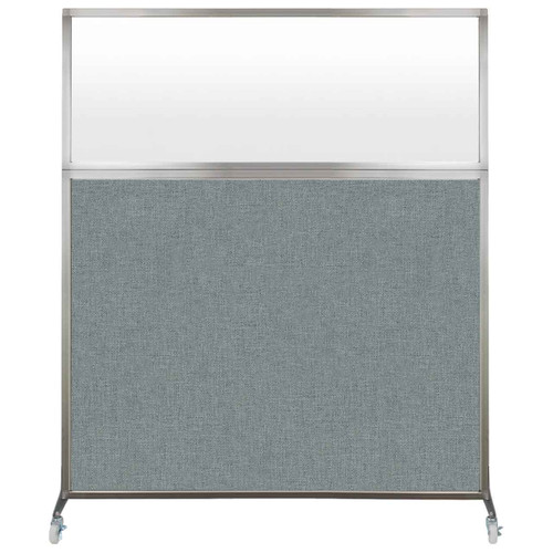 Hush Screen Portable Partition 5' x 6' Sea Green Fabric Frosted Window With Wheels