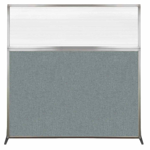 Hush Screen Portable Partition 6' x 6' Sea Green Fabric Clear Fluted Window Without Wheels