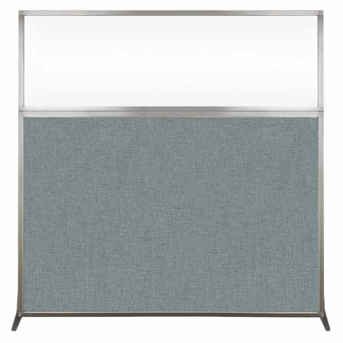Hush Screen Portable Partition 6' x 6' Sea Green Fabric Clear Window Without Wheels
