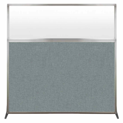Hush Screen Portable Partition 6' x 6' Sea Green Fabric Frosted Window Without Wheels