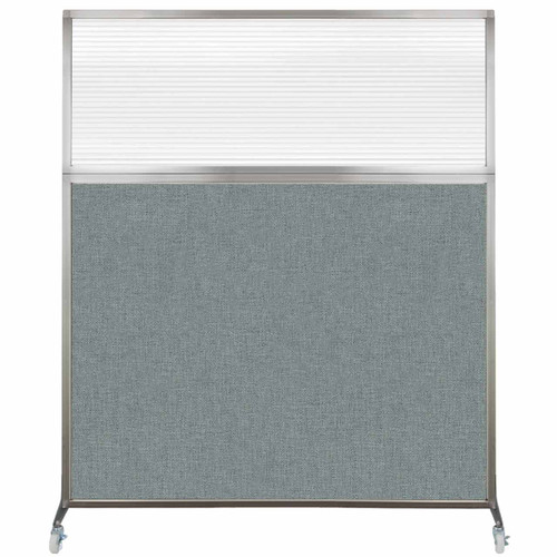 Hush Screen Portable Partition 6' x 6' Sea Green Fabric Clear Fluted Window With Wheels
