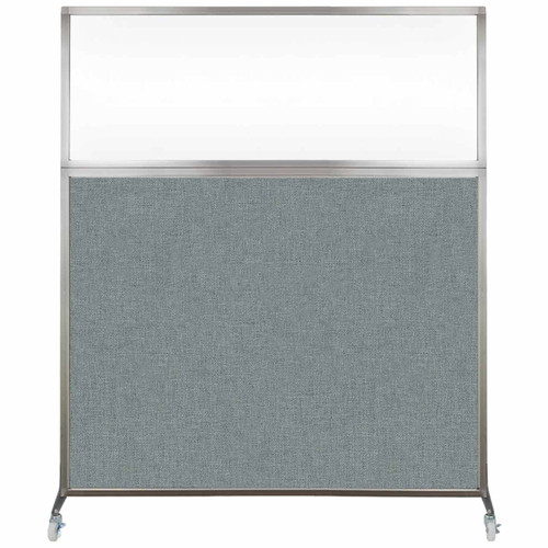 Hush Screen Portable Partition 6' x 6' Sea Green Fabric Clear Window With Wheels