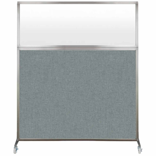 Hush Screen Portable Partition 6' x 6' Sea Green Fabric Frosted Window With Wheels