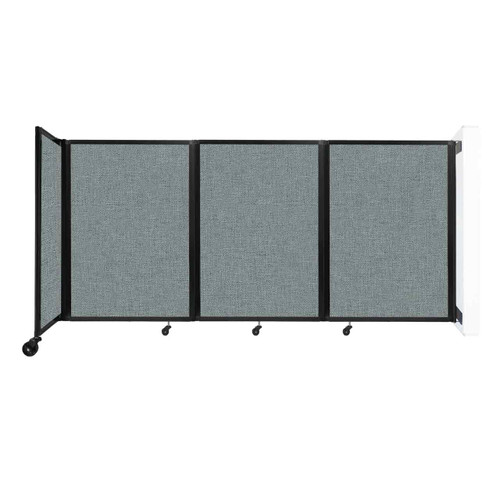 """Wall-Mounted Room Divider 360 Folding Partition 8'6"""" x 4' Sea Green Fabric"""