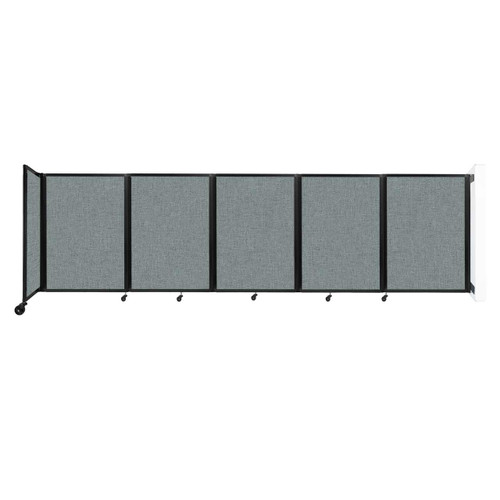Wall-Mounted Room Divider 360 Folding Partition 14' x 4' Sea Green Fabric