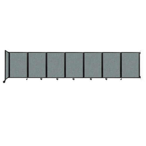 """Wall-Mounted Room Divider 360 Folding Partition 19'6"""" x 4' Sea Green Fabric"""