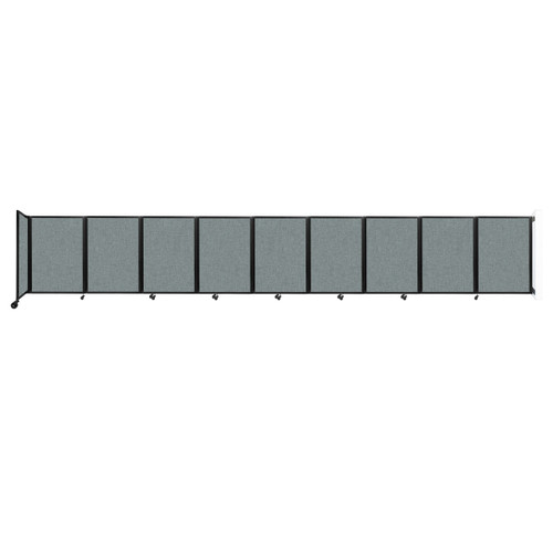 Wall-Mounted Room Divider 360 Folding Partition 25' x 4' Sea Green Fabric